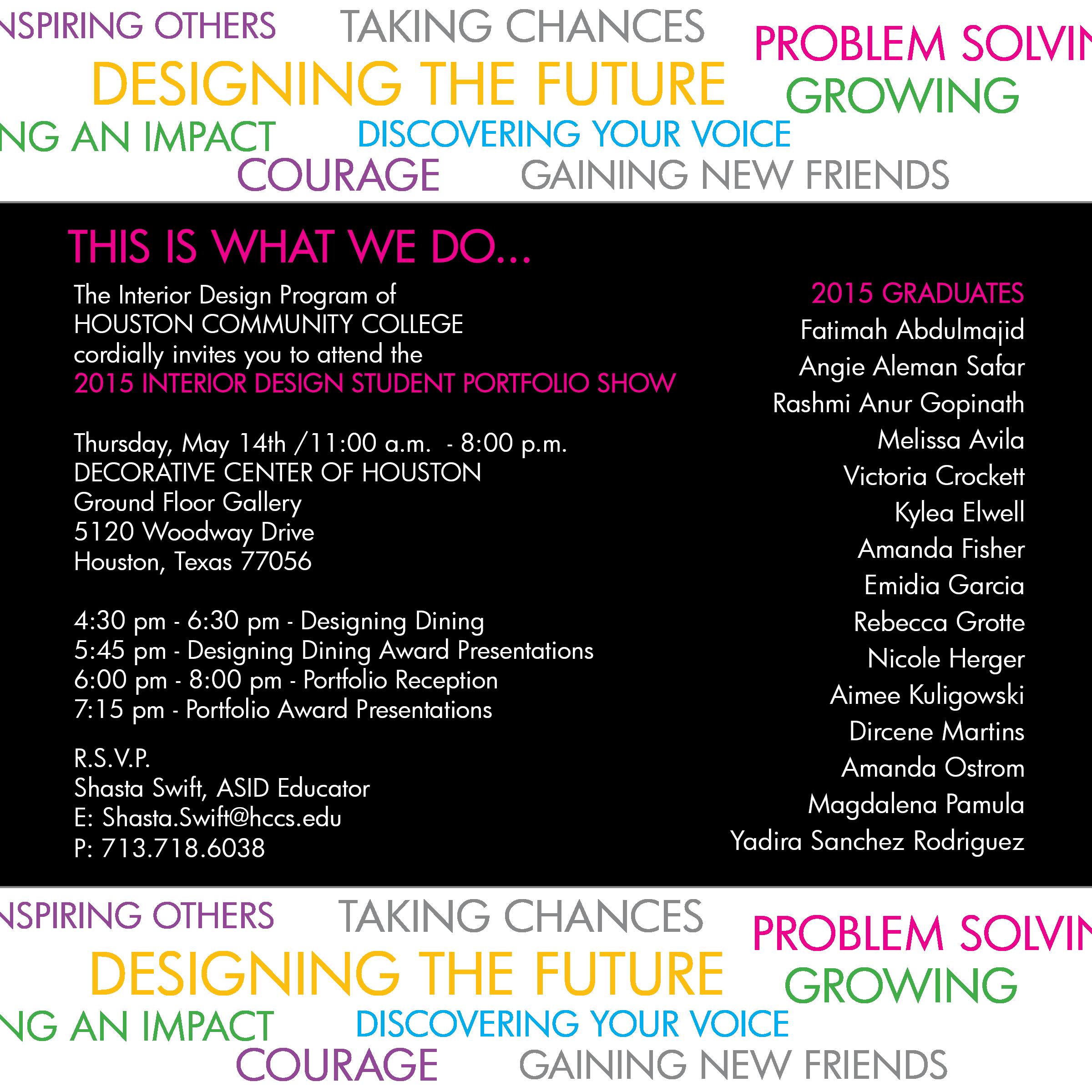 houston community college student portfolio show designing dining event